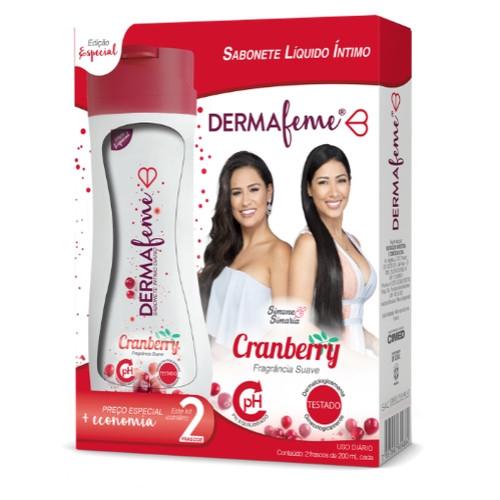 Kit Dermafeme Sabonete Líquido Íntimo Cranberry 200ml + 200ml