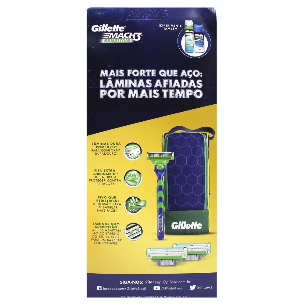 be21a64f7bf06 Kit Gillette Mach 3 Sensitive + Porta-Chuteira - Medicamentos e ...