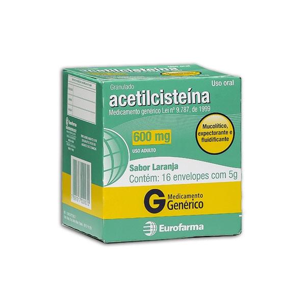 Acetilcisteina 600mg Eurofarma 16 sachês