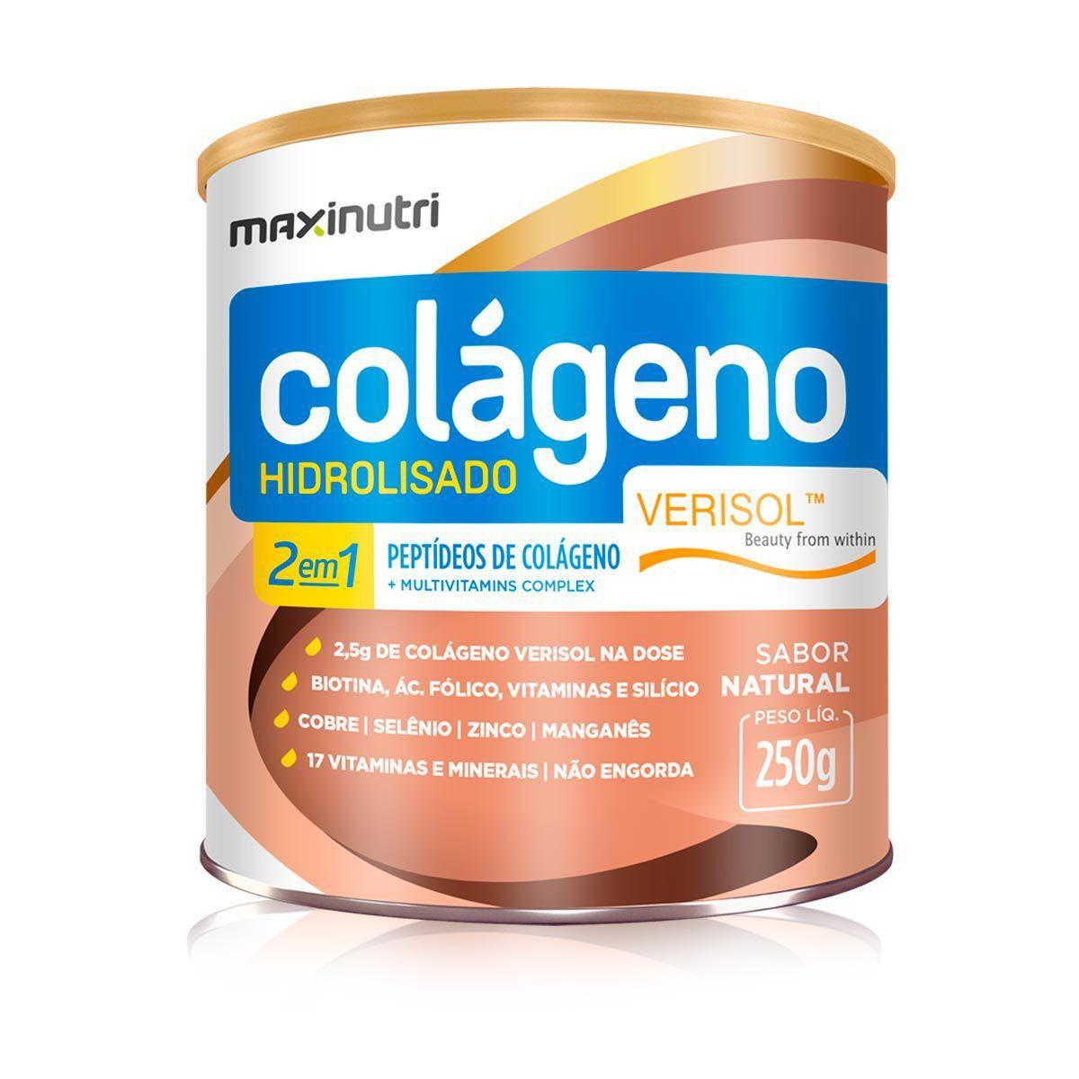 Colágeno Hidrolisado 2 em 1 Maxinutri Sabor Natural 250g