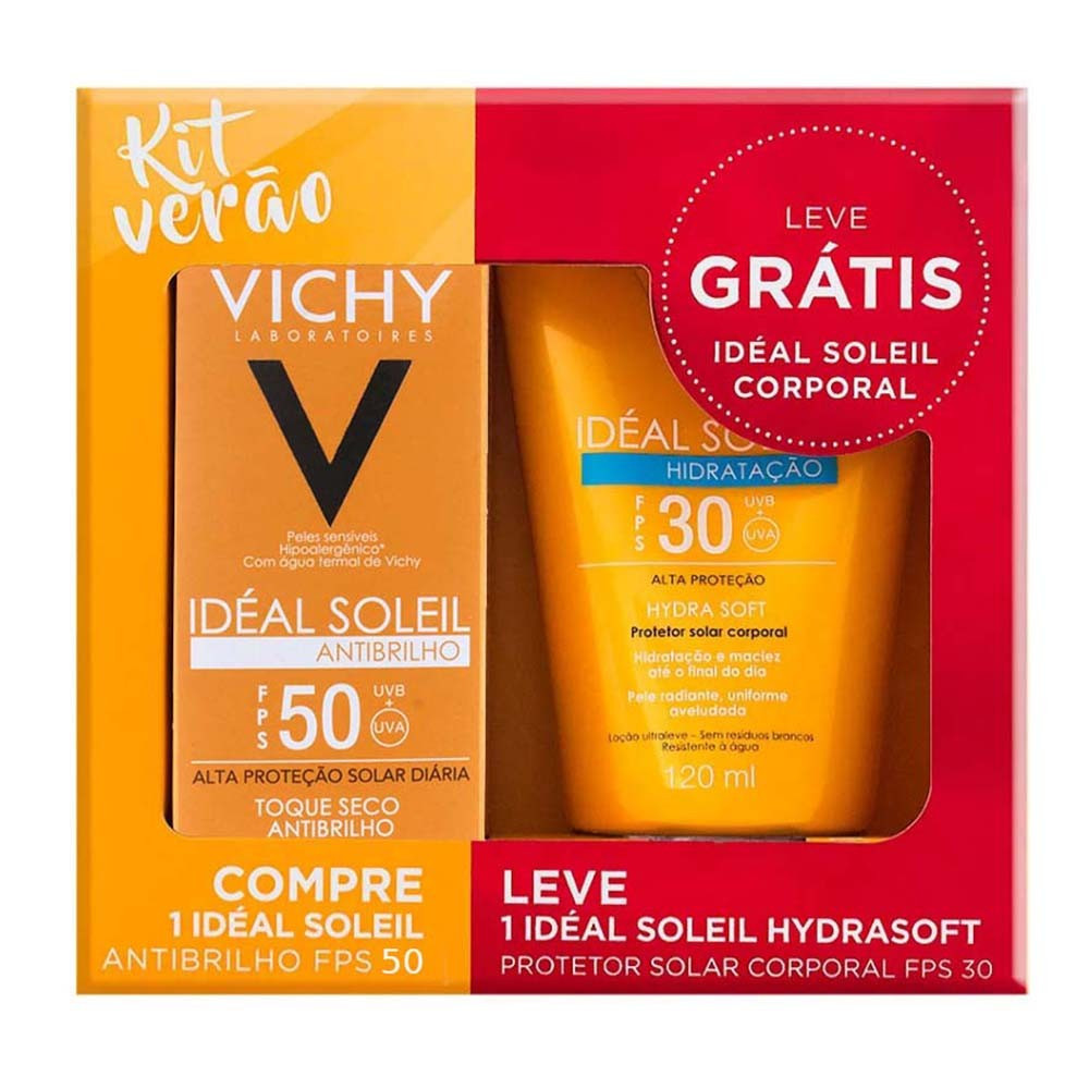 Vichy Kit Verão Ideal Soleil FPS 50 Antibrilho 40g + Ideal Soleil FPS 30 Hidratação 120ml