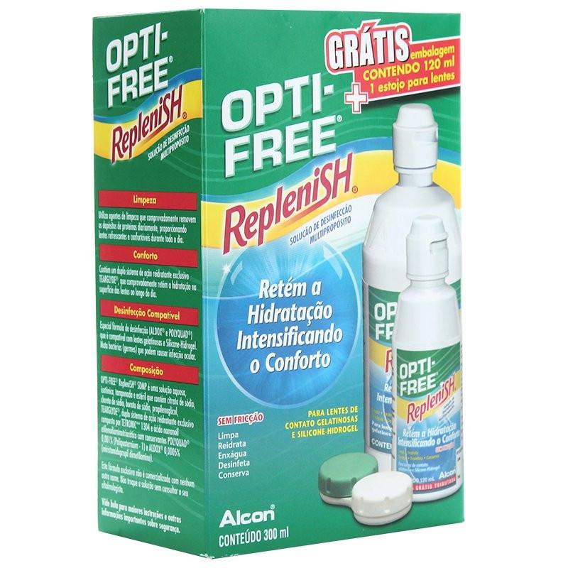 Opti-Free Replenish 300ml/120ml + Brinde Estojo de Lente