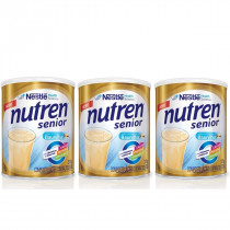 Kit Nutren Sênior Sabor Baunilha Nestlé 370g 3 Unidades