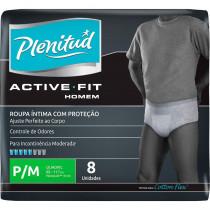 Roupa Íntima Plenitud Active Homem P/M com 8 unidades